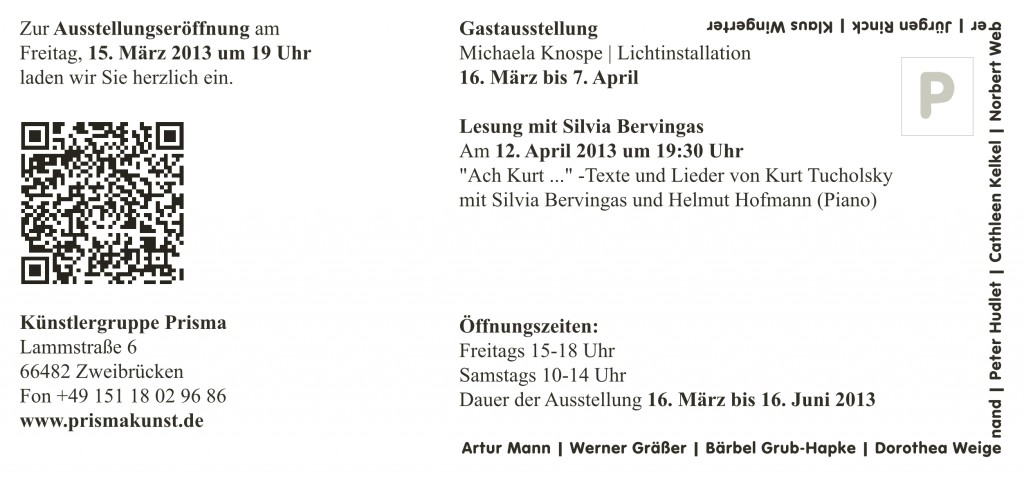 Lenz 2013 Ausstellungseinladung Prisma
