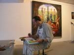 Der Hahnheimer Maler Sven Schalenberg bei einer Col-Malaktion 2006 im Mainzer Atelier Art'n'Act